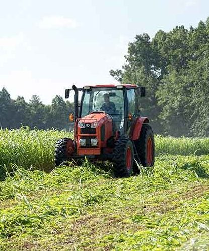 Farmer Driving a Tractor over Crops